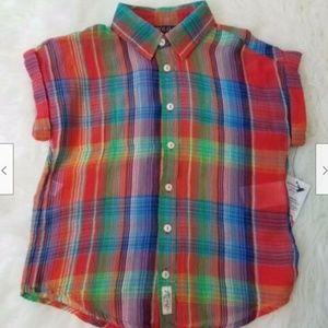 Polo RL Plaid Button Shirt Sz 5 Multi A1